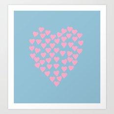 Hearts Heart Pink on Blue Art Print
