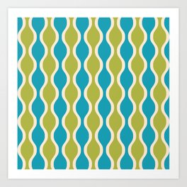 Classic Retro Ogee Pattern 852 Turquoise and Olive Art Print