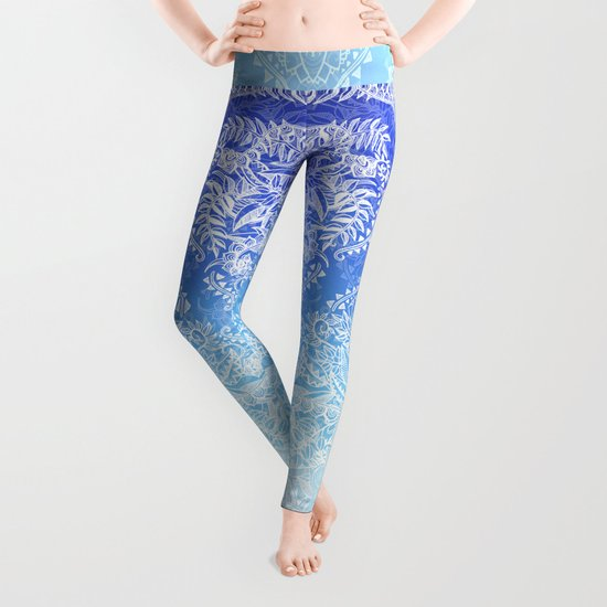 Out of the Blue - White Lace Doodle in Ombre Aqua and Cobalt Leggings