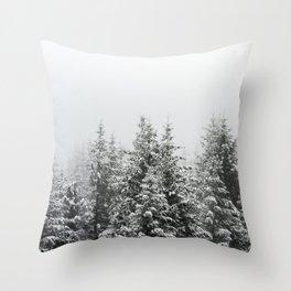 Winter Forest Fir Tree Snow III - Nature Photography Throw Pillow