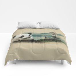 Panda meditating Comforters