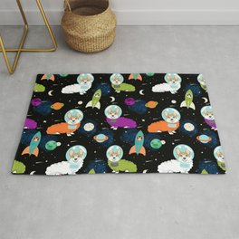 Welsh Corgi outer space cadet space camp rockets astronaut dog breed corgis gifts Rug