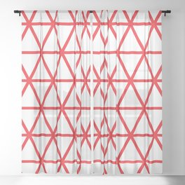 Red Triangle Pattern 2 Sheer Curtain