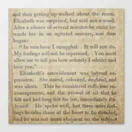 Pride and Prejudice  Vintage Mr. Darcy Proposal by Jane Austen   Canvas Print