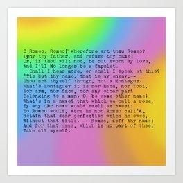 Rainbow Shakespeare (Balcony Scene) Art Print