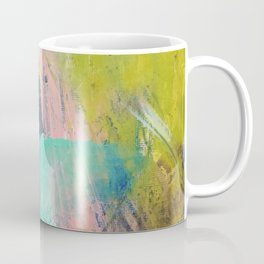 Melt: a vibrant abstract mixed media piece in blues, greens, pink, and white Coffee Mug
