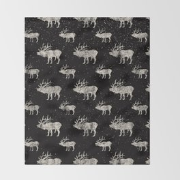 Moose in Winter Snow on Black -Wild Animals-Mix and Match with Simplicity of Life Throw Blanket
