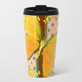 Yellow Butterflies Coffee Brown Pink & Blue Patterns Travel Mug