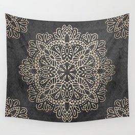Mandala White Gold on Dark Gray Wall Tapestry