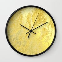 gold foil Wall Clocks featuring Gold Foil by Sweet Karalina