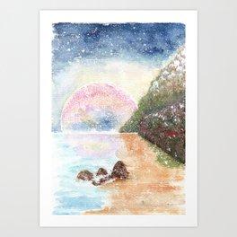 Pink Moon Watercolor Illustration Art Print