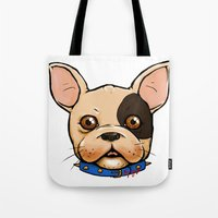 frenchie Tote Bags featuring Frenchie by The Audyssey