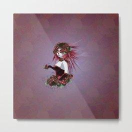 Sugar skull girl in purple Metal Print