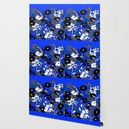 SUNFLOWER TRELLIS BLUE BLACK GRAY AND WHITE TOILE Wallpaper