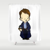 jack nicholson Shower Curtains featuring JACK by Space Bat designs