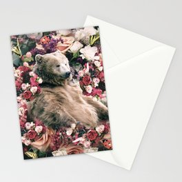 Cute Floral Bear Flower Stationery Cards