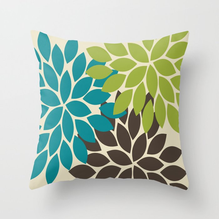 Bold Colorful Biege Brown Teal Green Dahlia Flower Burst Petals Throw Pillow By Trmdesign Society6