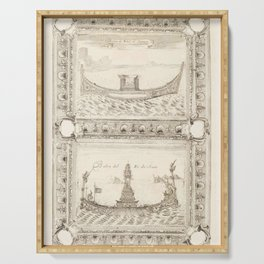 Vintage Print - Royal Ships of the King of Siam, from the Atlante Veneto (1692) Serving Tray