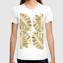 Gold Monstera Leaves on White T-shirt