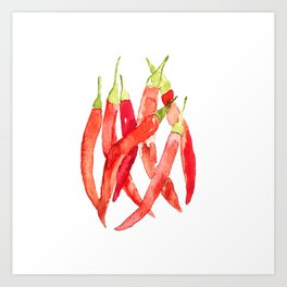 Watercolor Chilies Art Print