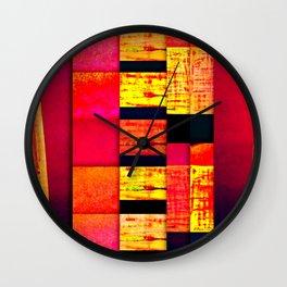 pattern black red pink orange Wall Clock
