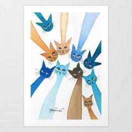 Chantilly Whimsical Cats Art Print