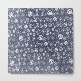 Snowflake Snowstorm In Midnight Blue Metal Print