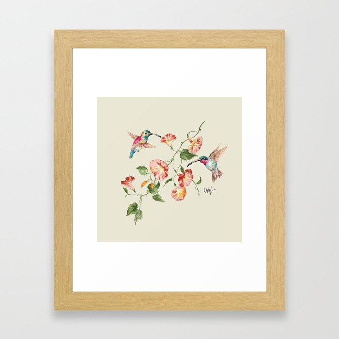 hummingbirds & morning glories Framed Art Print