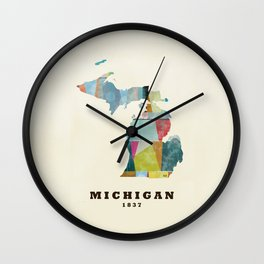 Michigan  state map modern Wall Clock