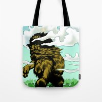 iron giant Tote Bags featuring GIANT by Aaron Rossell