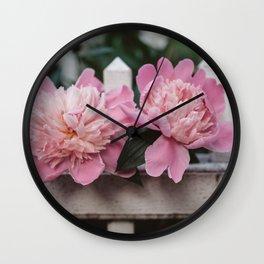 Peony in the Garden Wall Clock