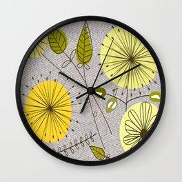 Mid-Century Modern Floral Wall Clock