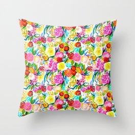 Neon Summer Floral (Smaller Print size) Throw Pillow