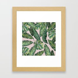 Jungle Leaves, Banana, Monstera Pink #society6 Framed Art Print