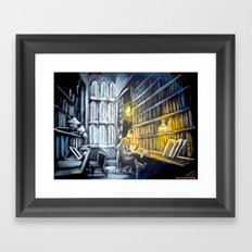 Hermione studying in the library Framed Art Print