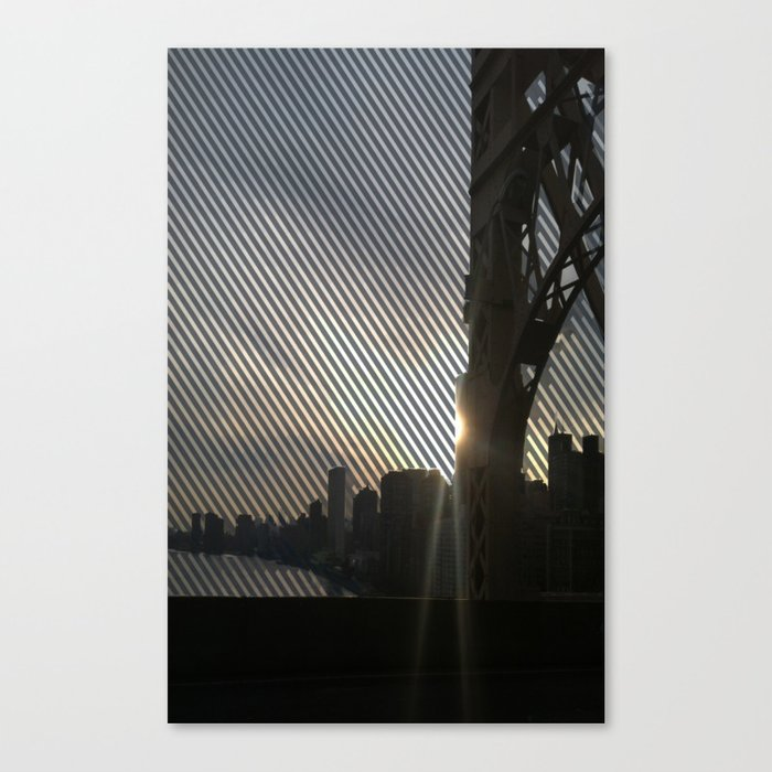 Striped View of Lower NYC from the 59th St. Bridge  Canvas Print