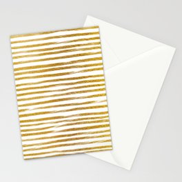 Squiggly Gold Foil Brush Stroke Hand-Painted Lines on White Stationery Cards