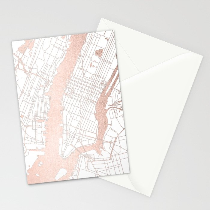 New York City White on Rosegold Street Map Stationery Cards