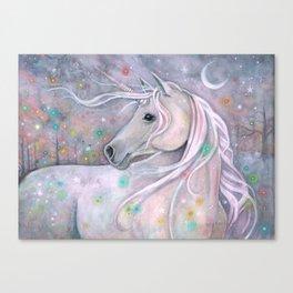 Twinkling Lights Unicorn Fantasy Watercolor Art by Molly Harrison Canvas Print