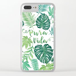 Tropical Pura Vida Palm Leaves and Monstera Watercolor Clear iPhone Case