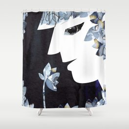 Portrait of a Woman Smelling Flowers Shower Curtain