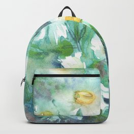 watercolor drawing - white daisies on a blue and green background, beautiful bouquet, painting Backpack