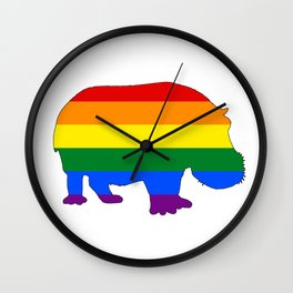Rainbow Hippopotamus Wall Clock