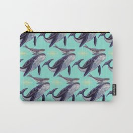 Mum and baby whale in blue ocean Carry-All Pouch