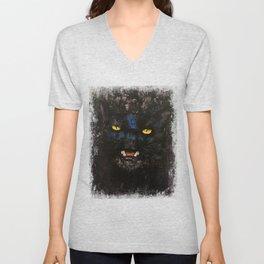 Black on Black Cat Unisex V-Neck