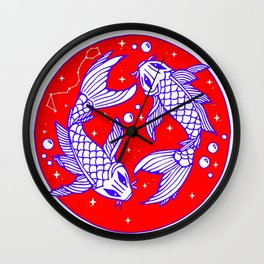Red White Blue Pisces Wall Clock