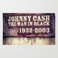 johnny cash Area & Throw Rugs featuring Johnny Cash by Dan99