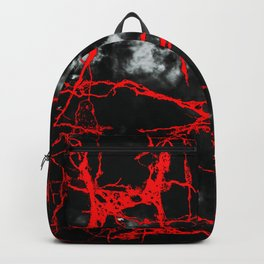 Horror Night Goth - Black and White,Red Backpack