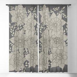 Zentangle Flowers Sheer Curtain