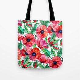 Plenty of Poppies - white Tote Bag